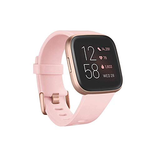 Fitbit Versa 2 - Health and Fitness Smartwatch, Petal Rose/Copper Rose, with integrated Alexa