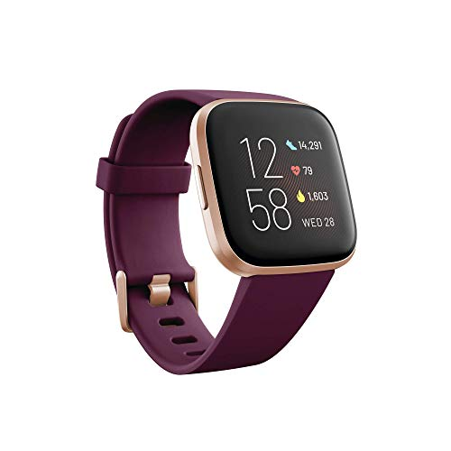 Fitbit Versa 2 - Health and Fitness Smartwatch, Bordeaux, with integrated Alexa