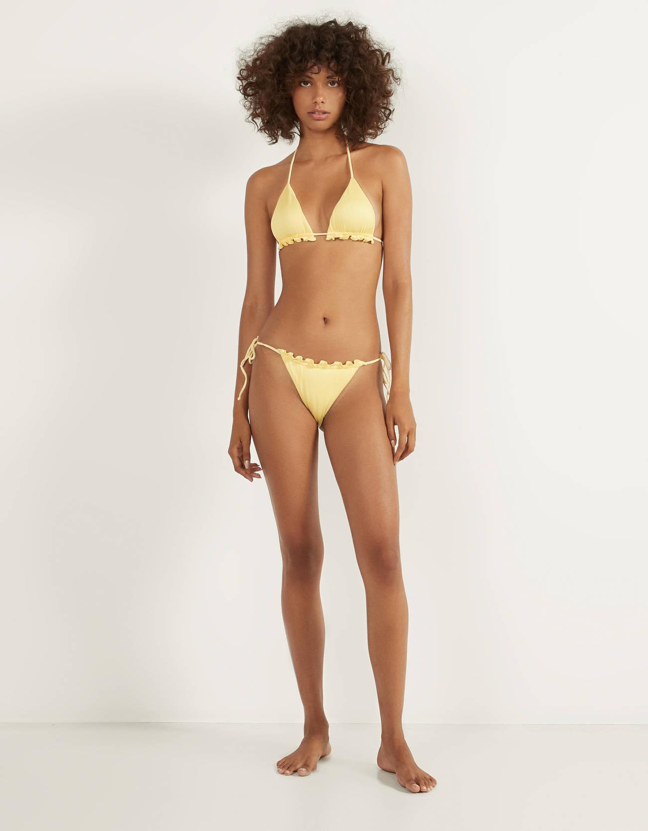 Pastel yellow textured bikini top