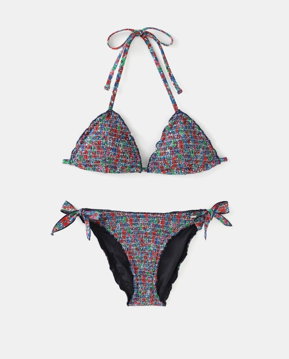 Pepe Jeans bikini top with ruffled edges and honeycomb design