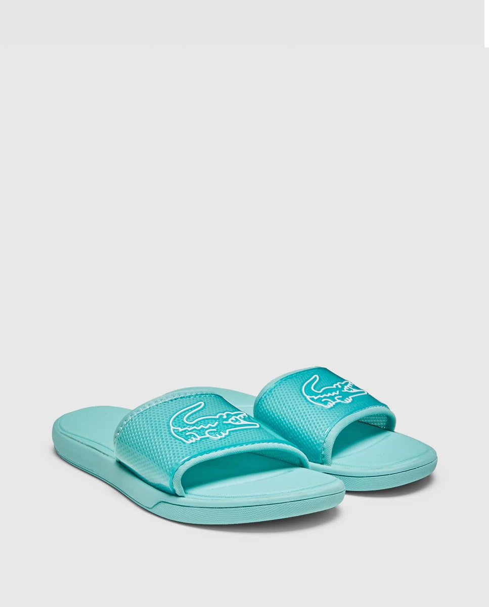 Green mint slippers with Lacoste logo