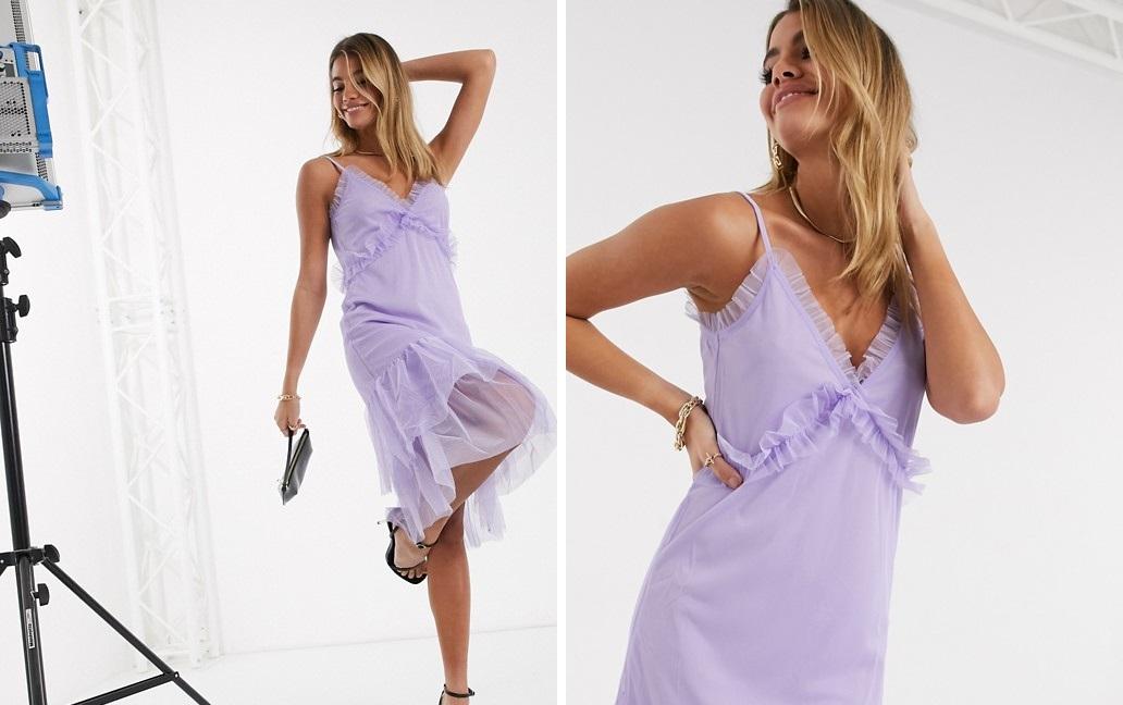 Midi dress with purple flounces