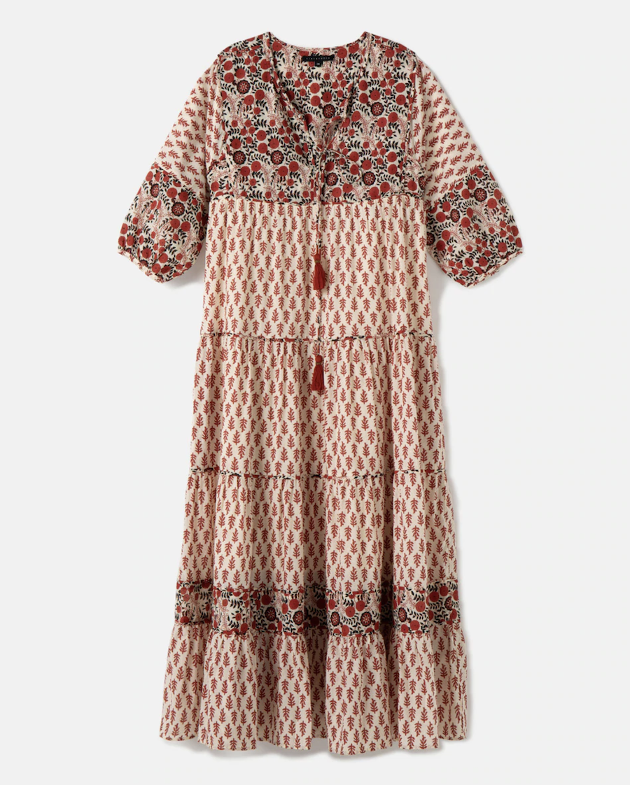 Printed dress with French sleeve