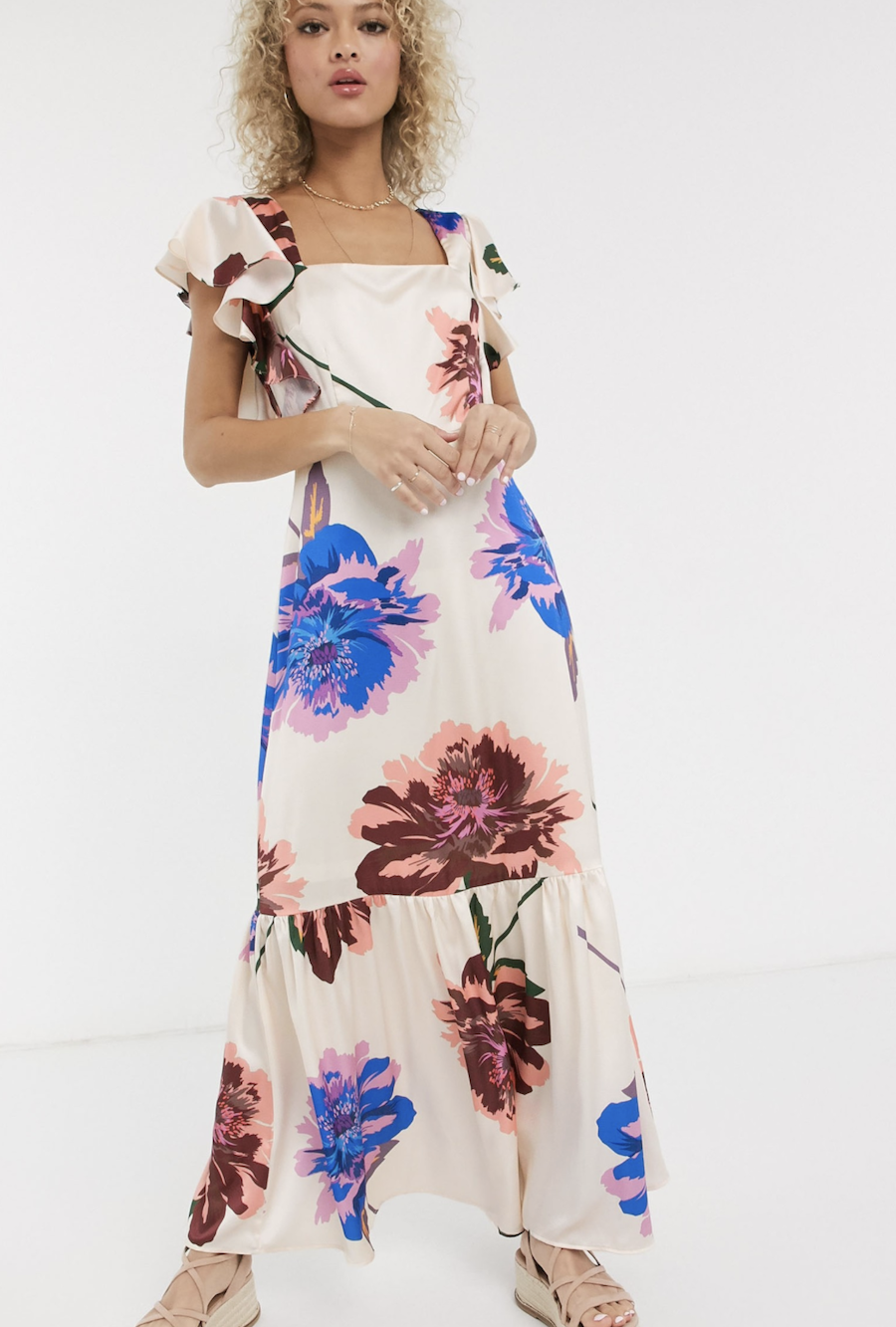 Long layered dress with cream embroidery by ASOS DESIGN