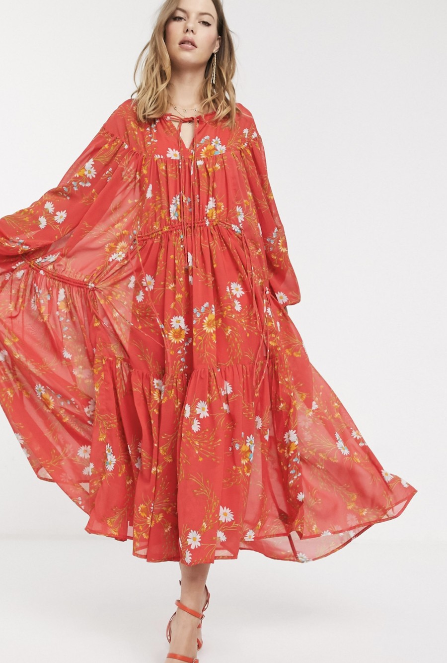 Long dress with a soft, stepped design, floral print and adjustable lace detail Eivissa by ASOS DESIGN