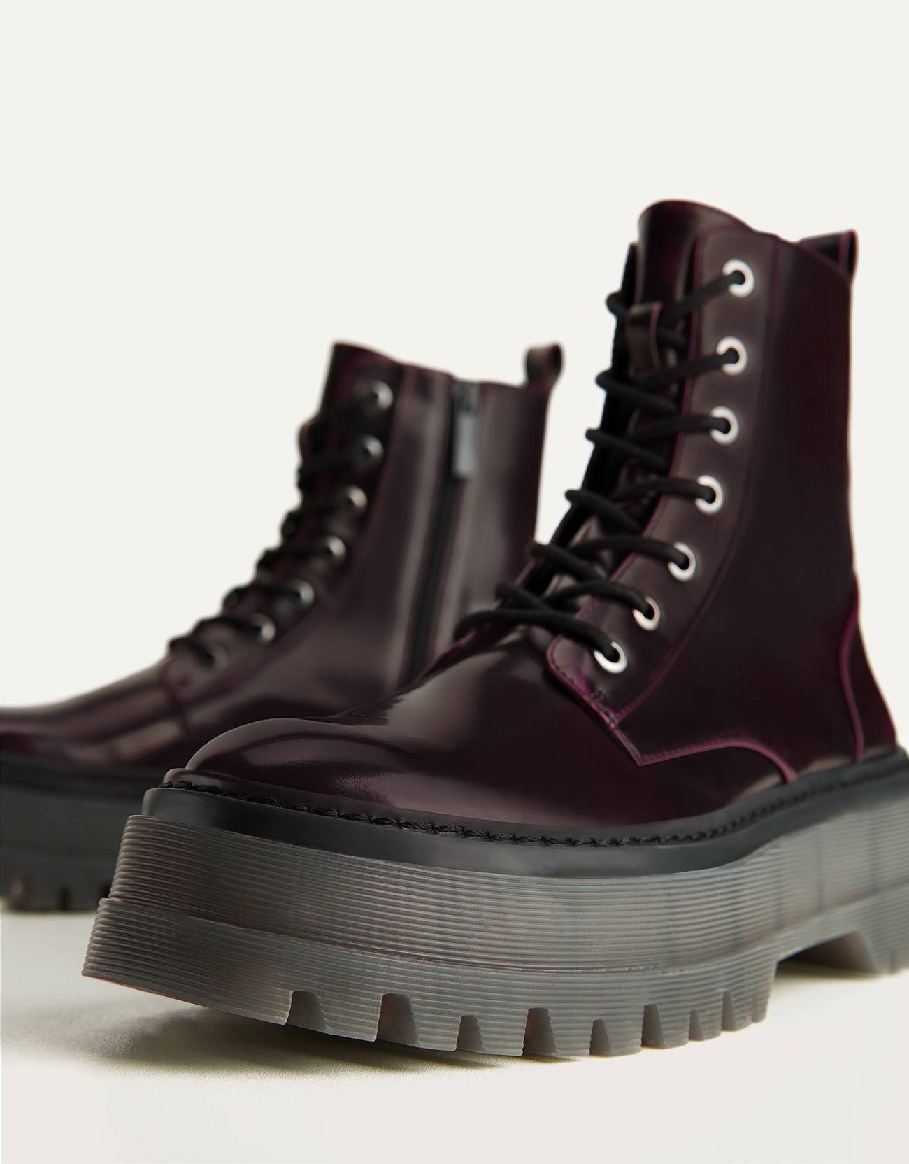 Military burgundy boots