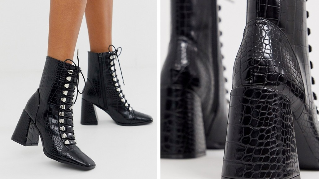 Crocodile skin effect laced ankle boots
