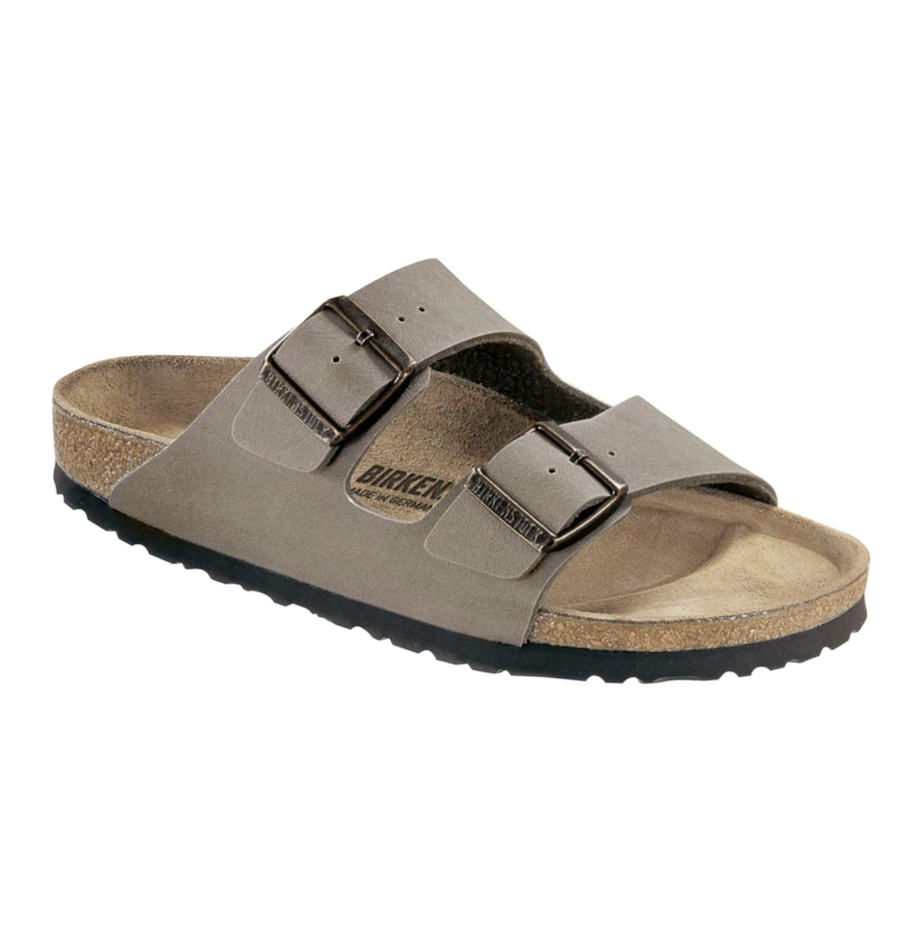 Binkerstock women's flat sandals in taupe with double buckle