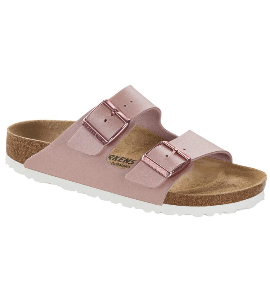 Birkenstock women's flat sandals in pink with double buckle