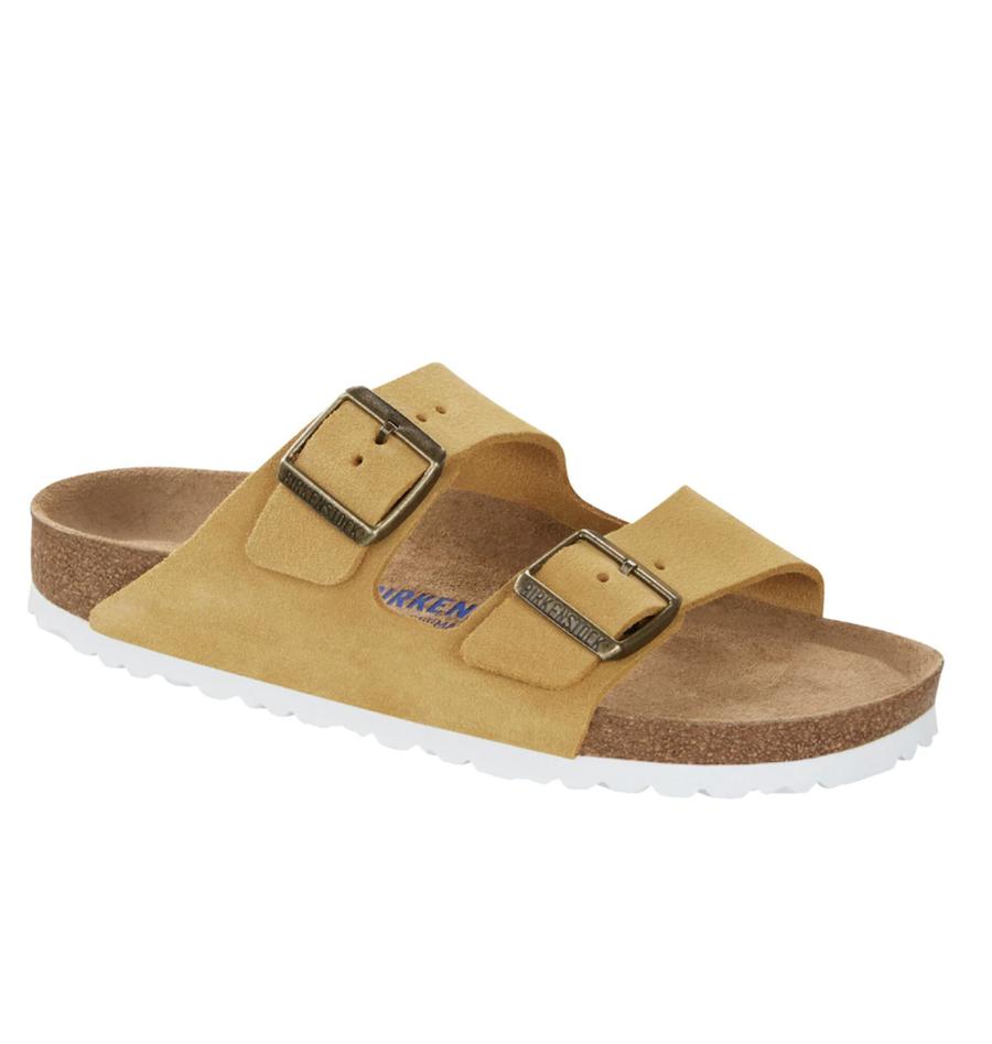Birkenstock women's flat mustard suede sandals