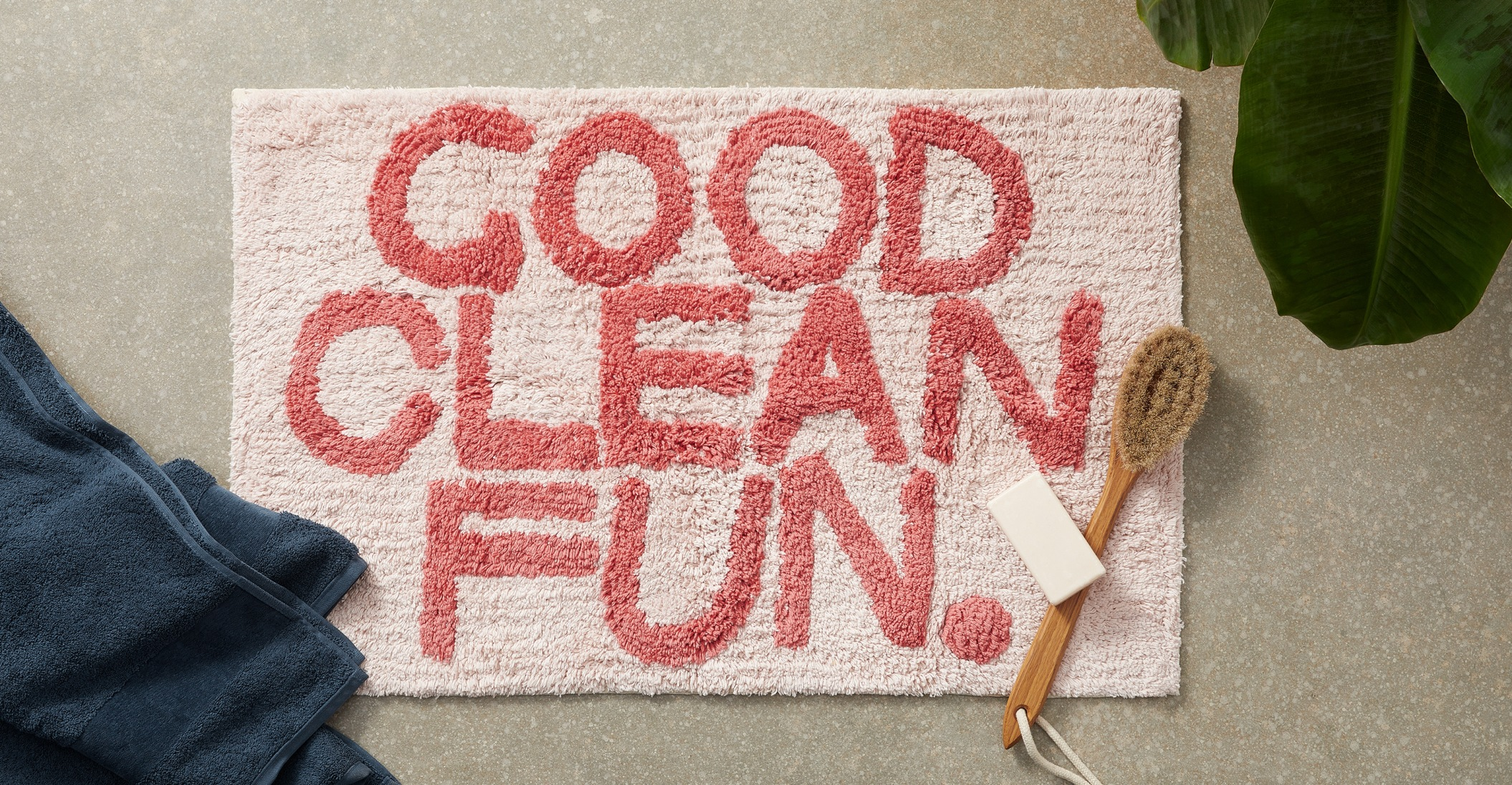 Good Clean Fun 100% cotton bath mat, pink