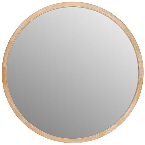 Appearance - Wooden round wall mirror for the bathroom, 50 x 4 cm
