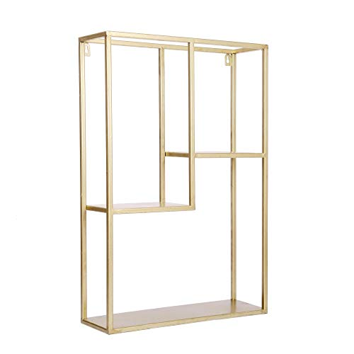 Dipamkar® H60 x W40cm - Golden Metal Wall Rack, Industrial Wall Rack, for storage of Books, Photos, Bottles, and more