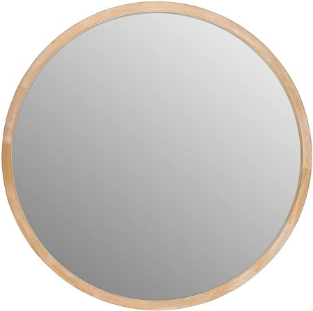 Wooden round wall mirror for the bathroom