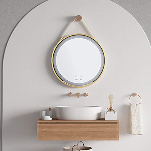 LUVODI 50 x 50 cm Round Bathroom Mirror with LED Lighting Wall Mirror with Gold Aluminium Frame with Anti-Fog Function and Touch-Switch for Bathroom and Bedroom