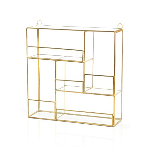Black Velvet Studio Gold Vintage Metal Wall Shelf - Retro Design Floating Wall Shelf for Living Room Aisle Metal Organizer Brass and Glass 25 * 8 * 26