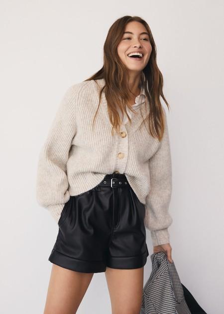 Leatherette effect shorts