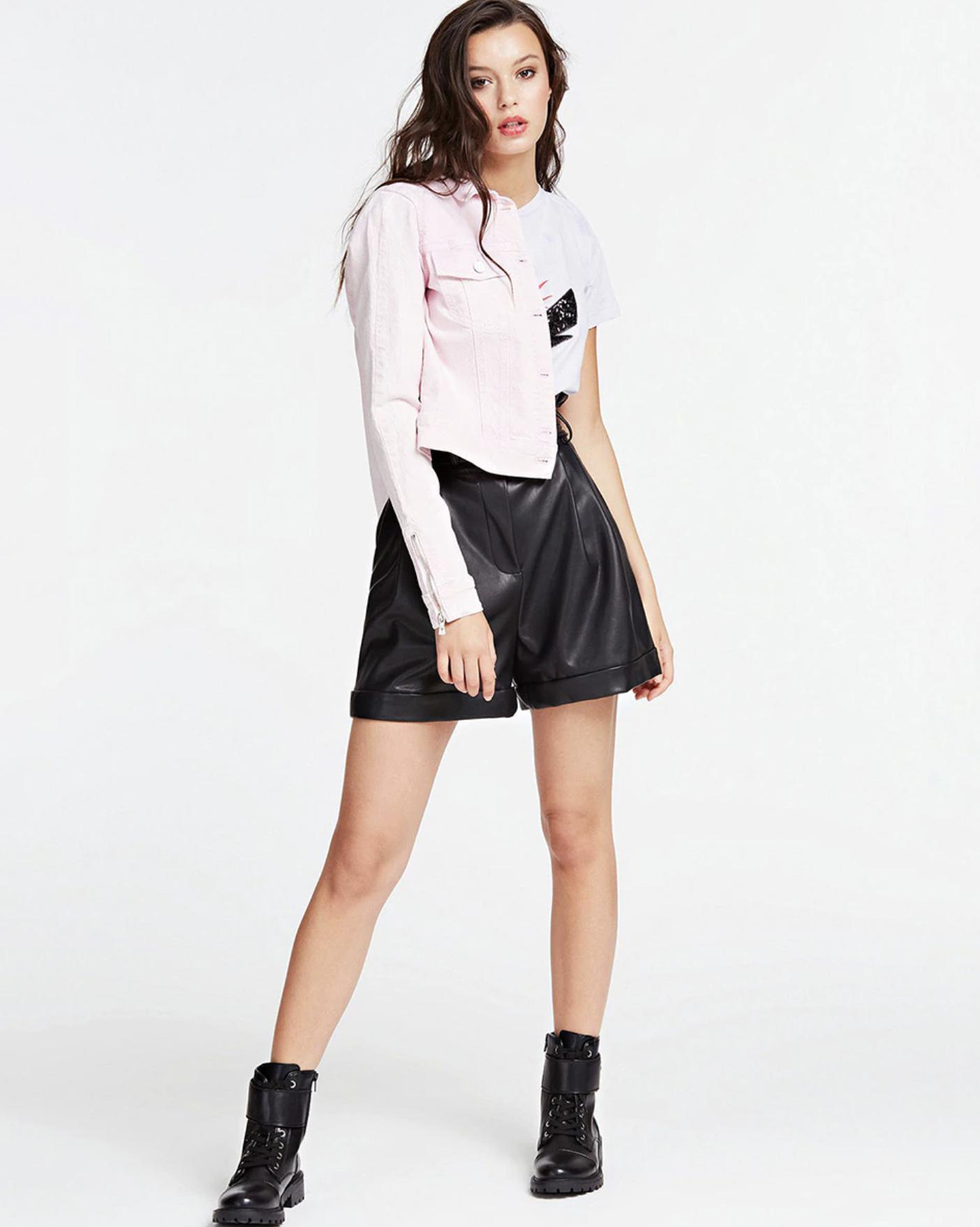 Women's eco leather high shot shorts