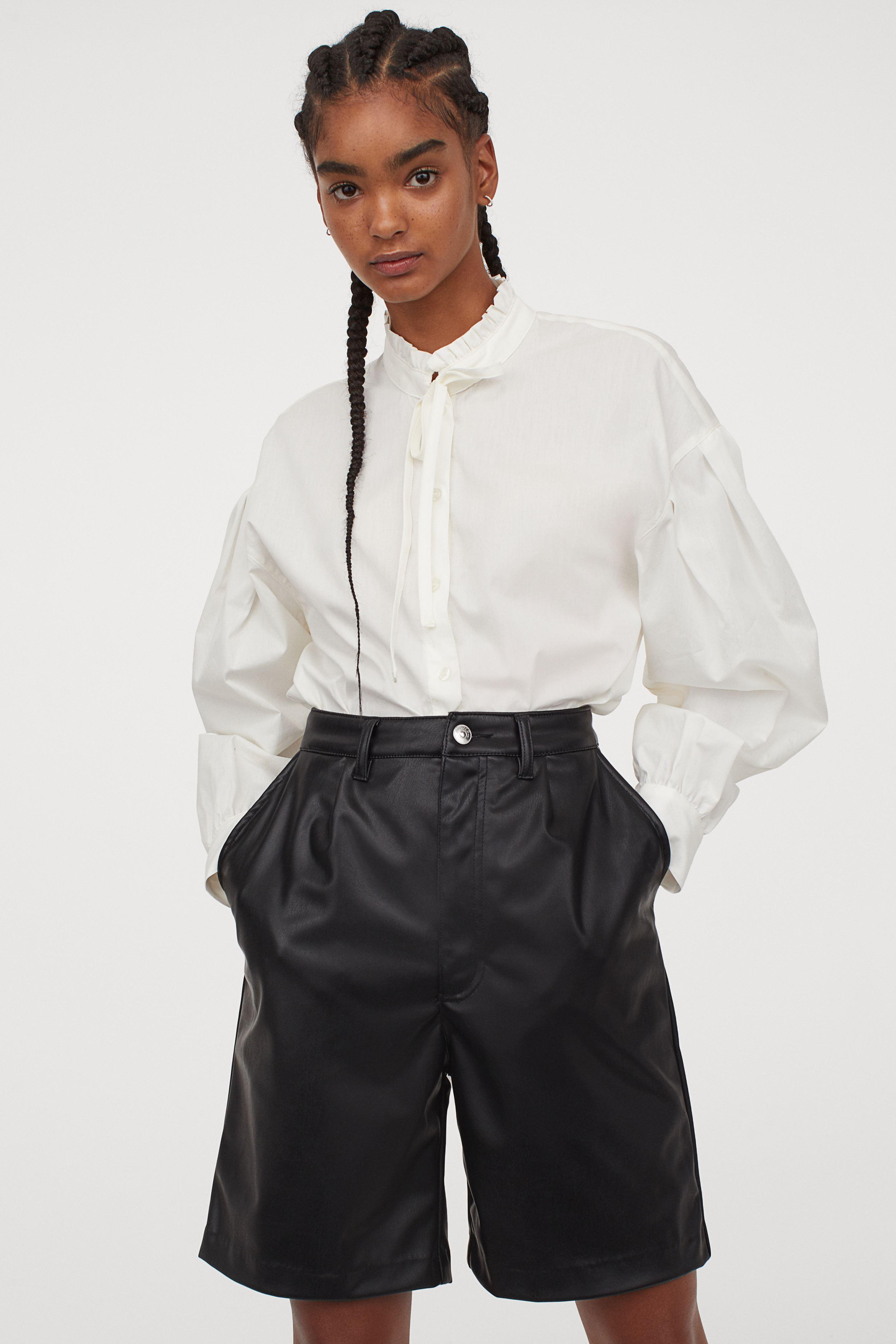 Fake leather shorts