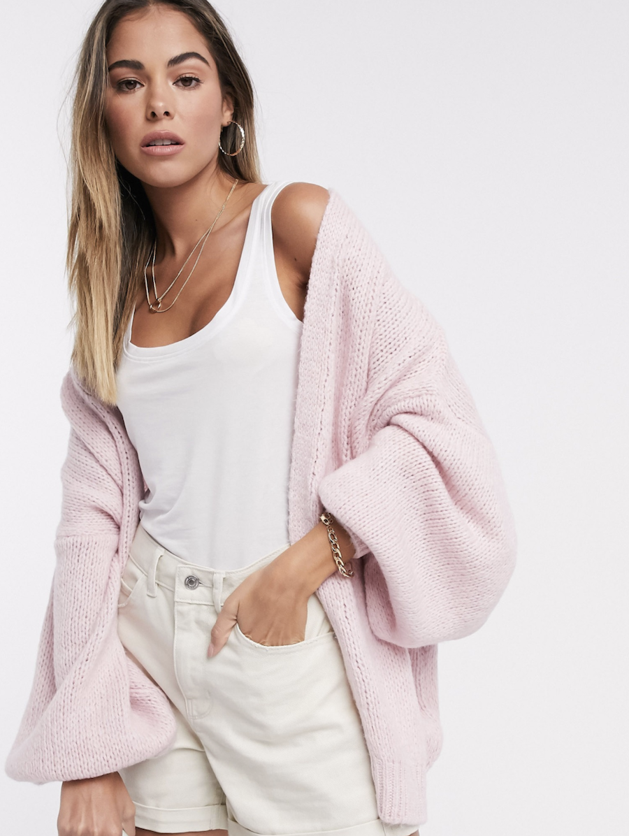 Extra large cardigan in light pink from ASOS DESIGN