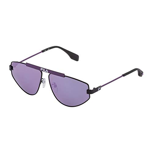 Row SF9993 531V 59-12-140 - Unisex sunglasses, black semi-gloss, mirrored polarized lenses