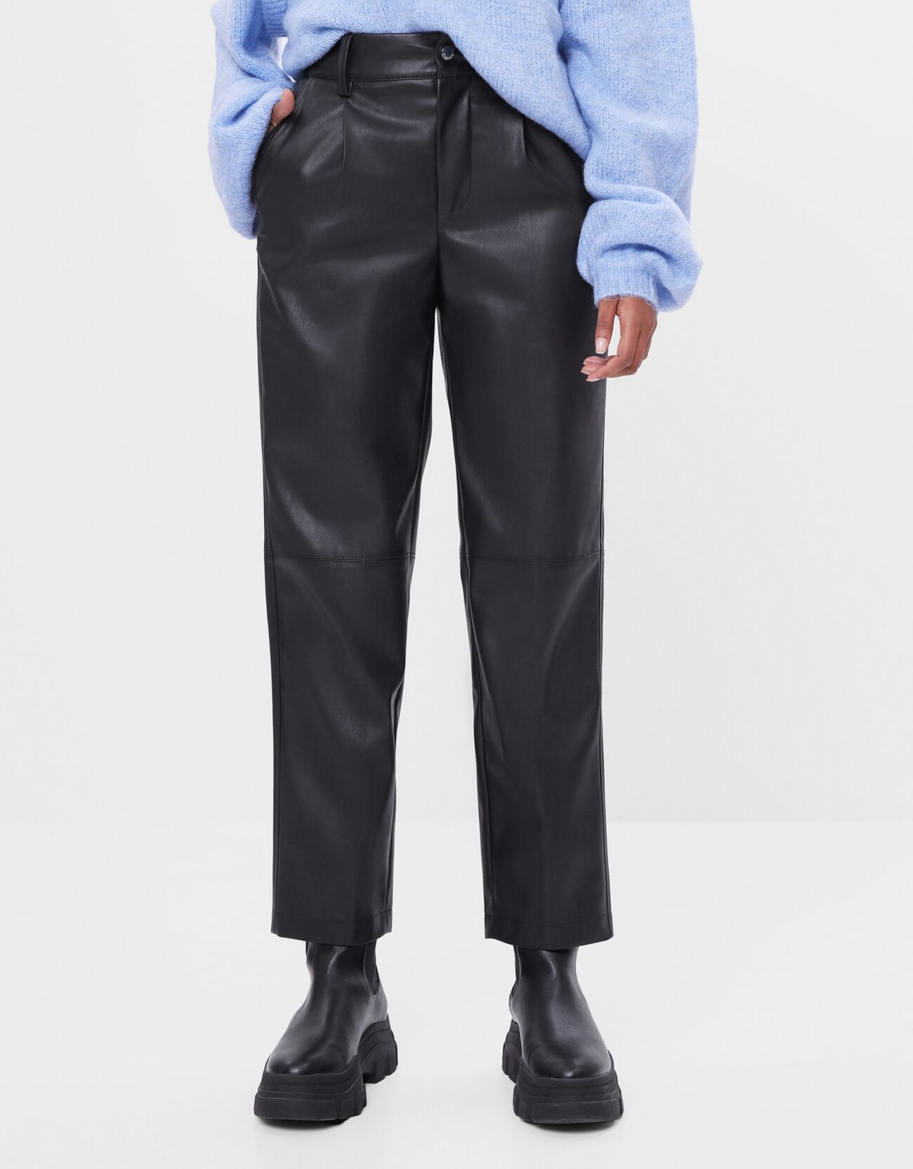 Straightforward synthetic leather pants