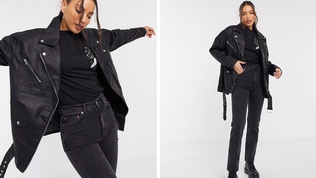 Extra large synthetic leather biker jacket