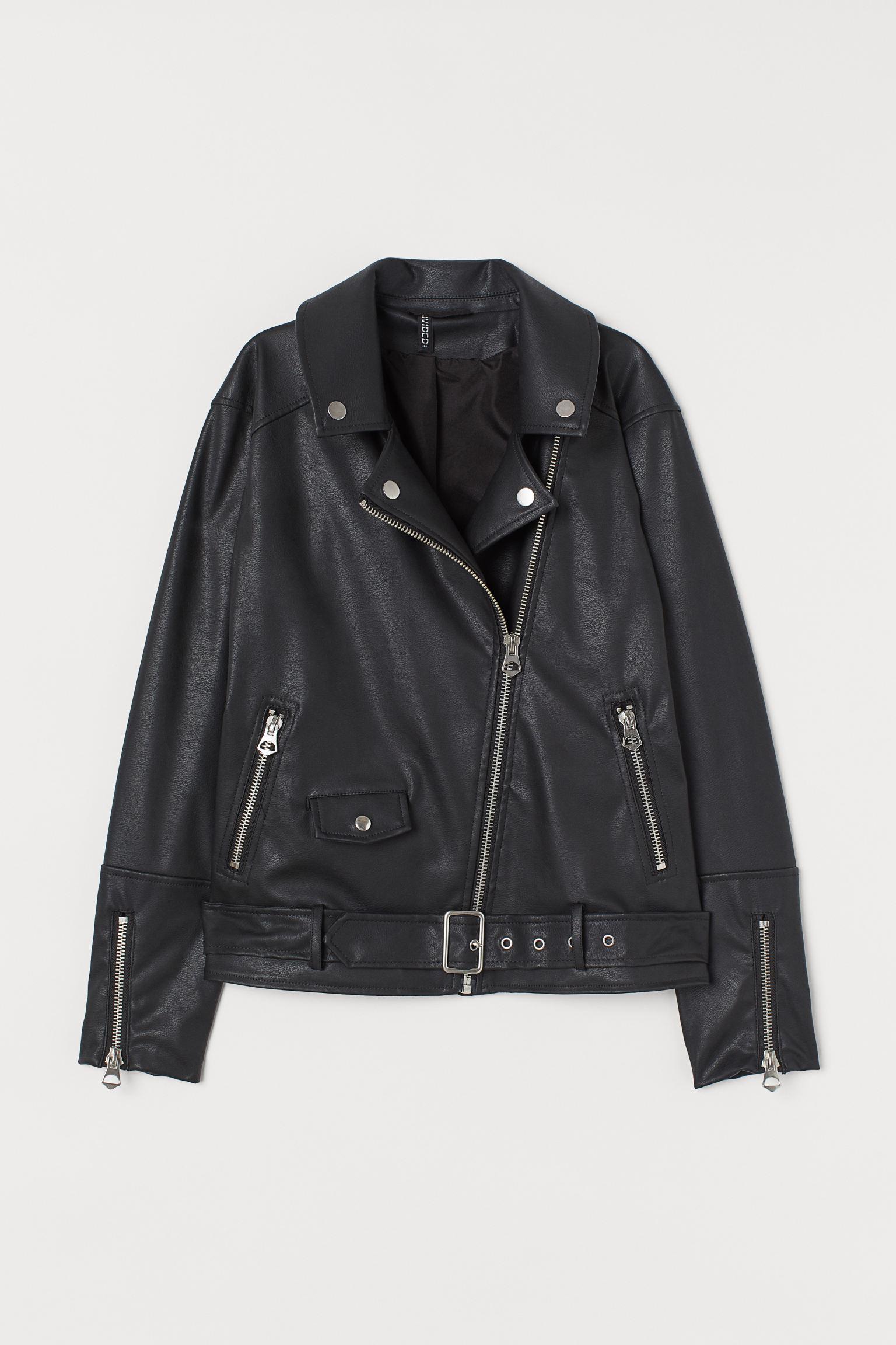 Fake leather biker jacket with oversize design