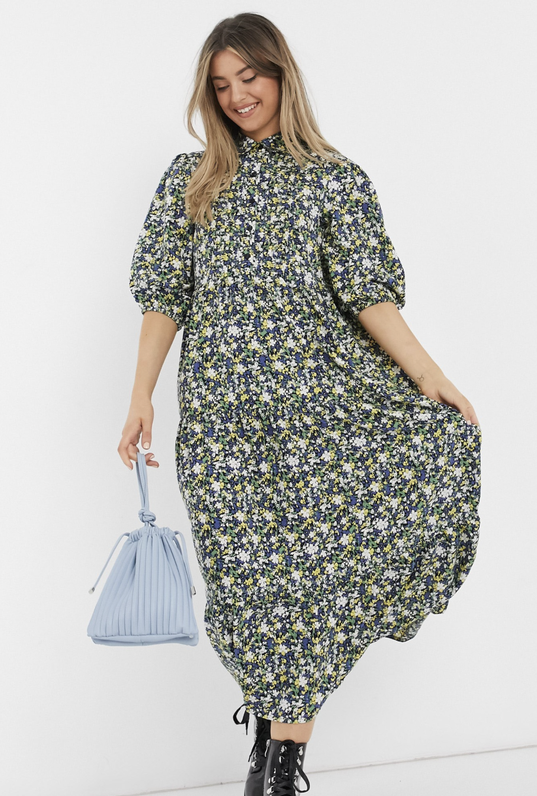 Step-up shirt dress with folds and flower print by ASOS DESIGN
