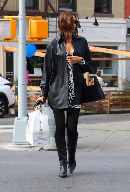 irina shayk jacket over leather shirt