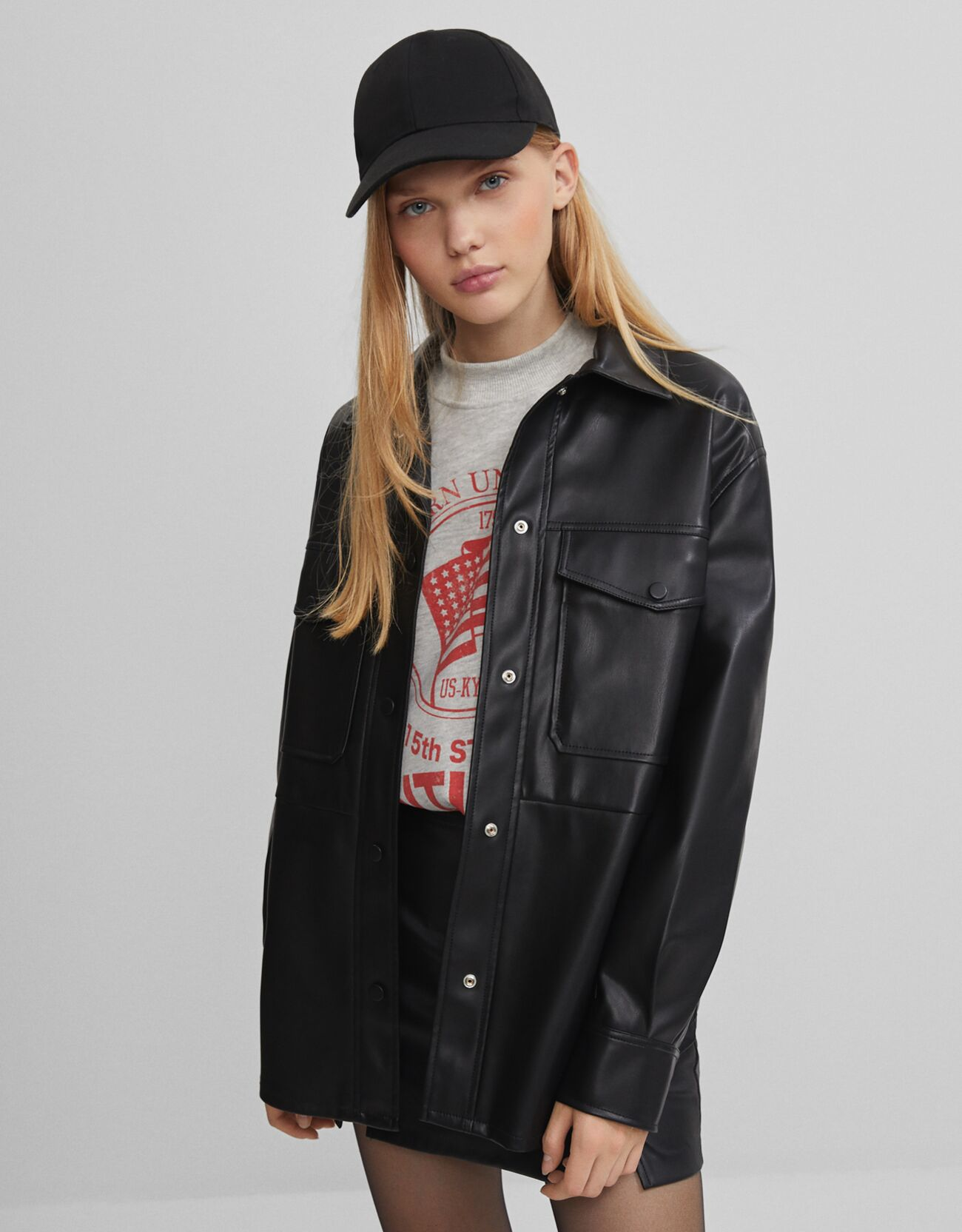 Patent leather shirt with hooks