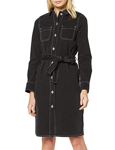 Amazon brand - find. Midi Women's Shirt Dress, black (WASHED BLACK), 38, Label: S
