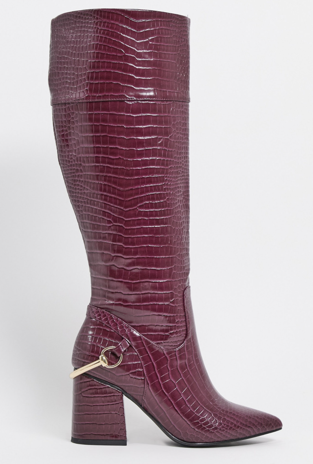 High block heel boots with violet crocodile design Collins by ASOS DESIGN