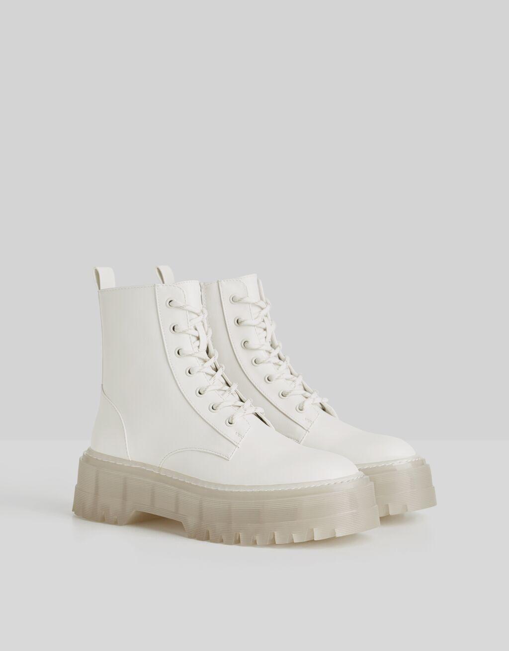 Translucent sole platform ankle boots