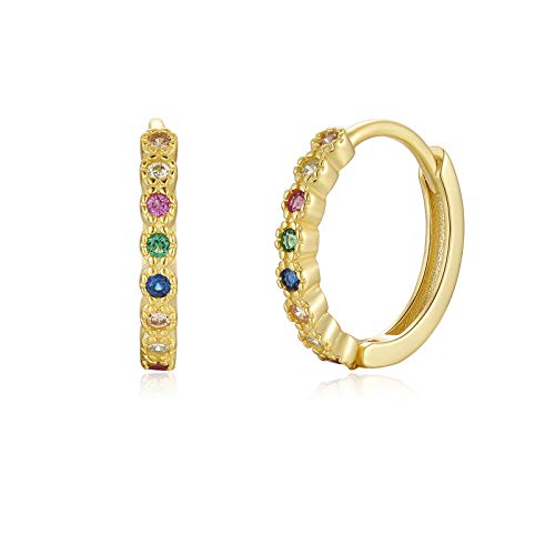 Qings Sterling Silver Gold Plated Earrings - Small Silver Earrings with Colored Zircons for Bride