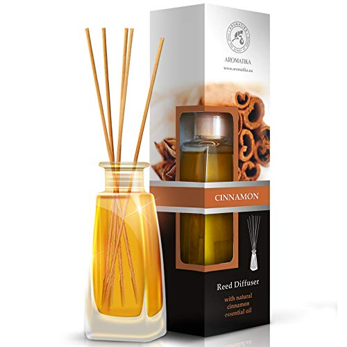Cinnamon Essential Oil Stick Diffuser 100ml - 100% Pure and Natural - Ambient and Lasting - 0% Alcohol - Gift Set of 8 Bamboo Sticks - to Scent All Environments
