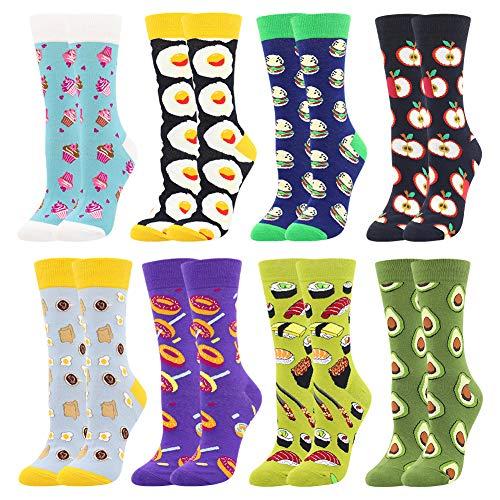 BONANGEL Women's Printed Socks, Occasional Women's Printed Socks Funny Cotton Painted Famous Art Socks, Fashionable Color Socks (8 Pairs-Donut2)