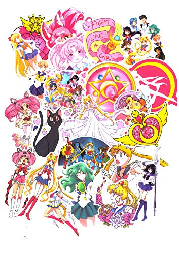 SET PRODUCTS Top Stickers! Set of 75 Sailor Moon Vinyl Stickers - No Vulgars - Fashion, Style, Pump - Portable Customization, Luggage, Motorcycle, Scrapbooking.