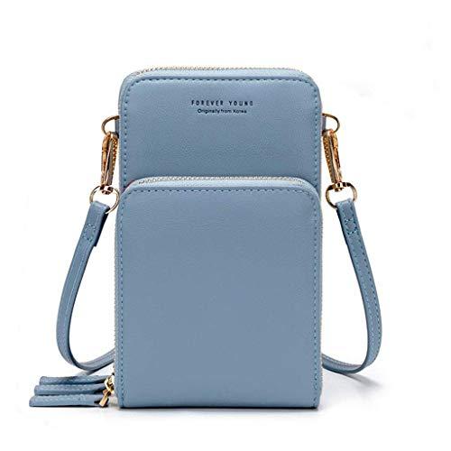 Women's Mobile Phone Handbag Crossed Wallet Mini Cell Phone Handbag Light Leather Crossed Wallet with Strap Card Slots(Light Blue)