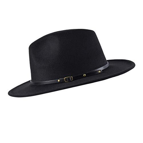 besbomig Men's Jazz Hat Women - Wide brimmed woolen hat