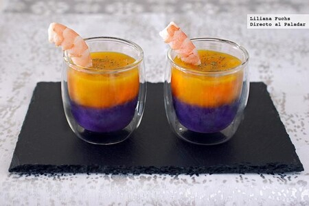 Bicolor Cream Cups With Prawns