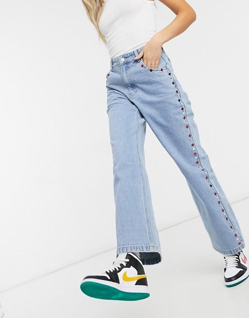 Straight jeans with vintage Milk It rhinestone trim.
