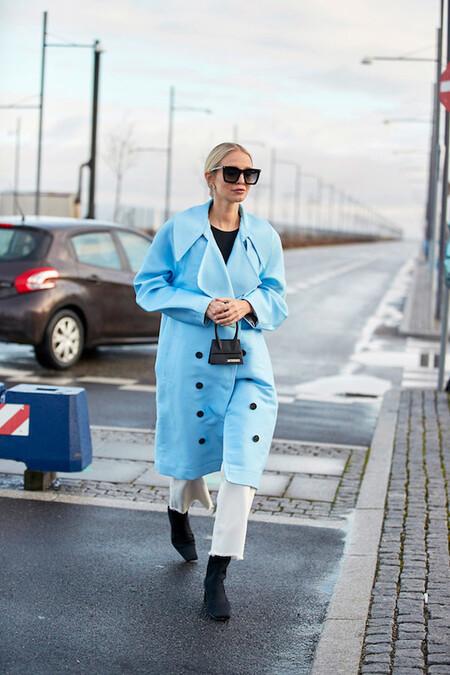 Coat Color Sky Blue Seen Street Style Copenhagen 600