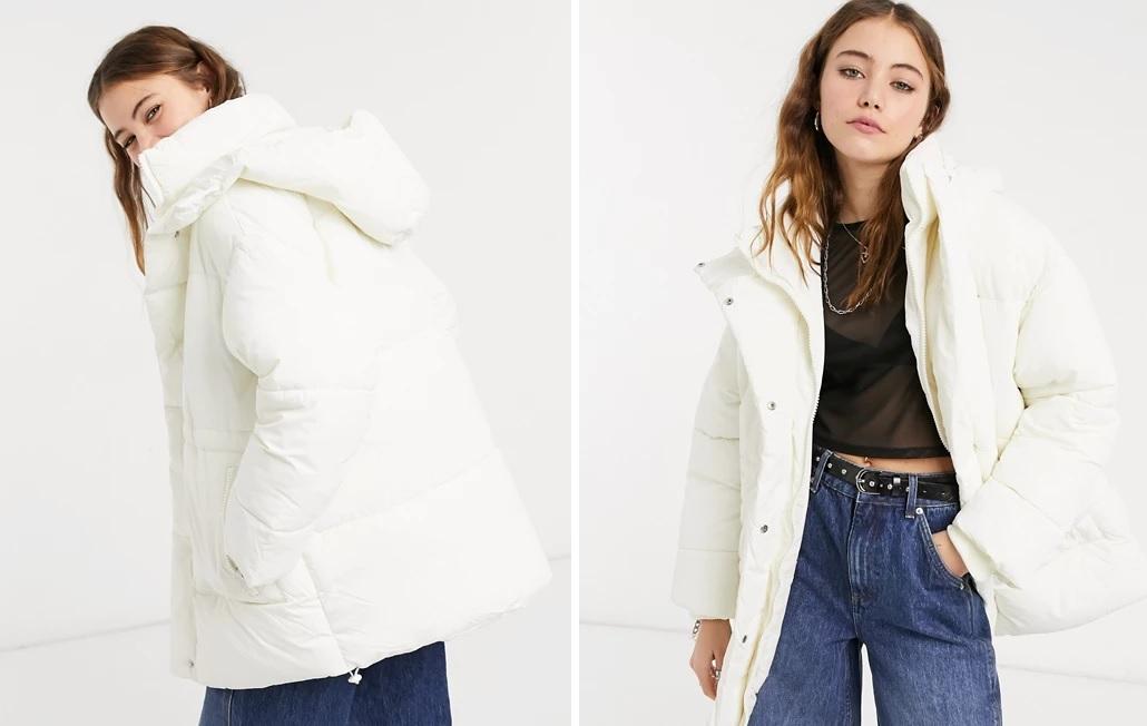 Monki's short puffy hooded coat