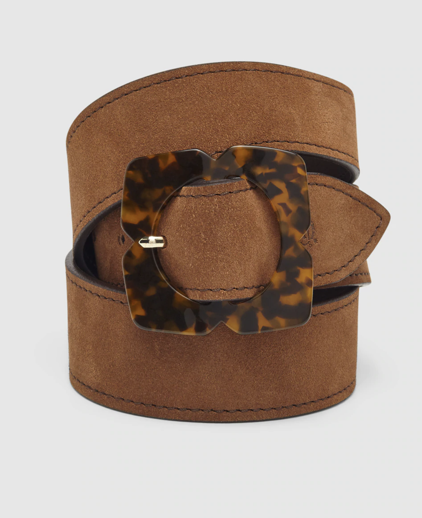 Women's belt The Horse in camel leather with hawksbill buckle