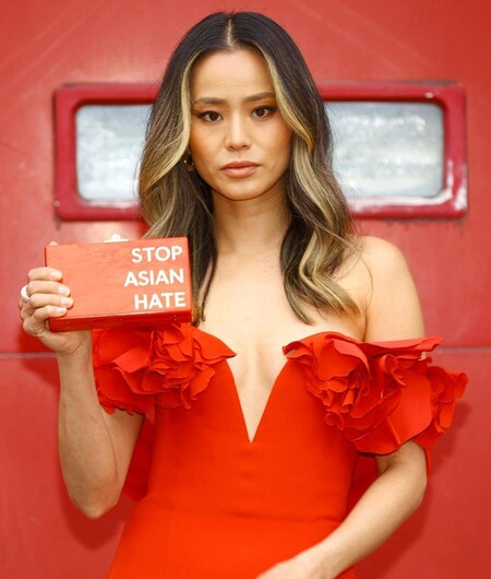 red carpet sag awards 2021 jamie chung clutch asian hate