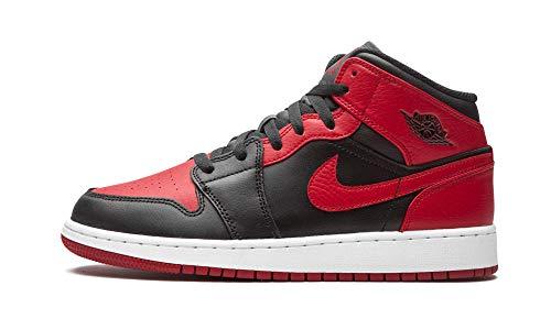 Nike Air Jordan 1 Mid (GS) Basketball Shoe, Black Gym Red White, 38 EU
