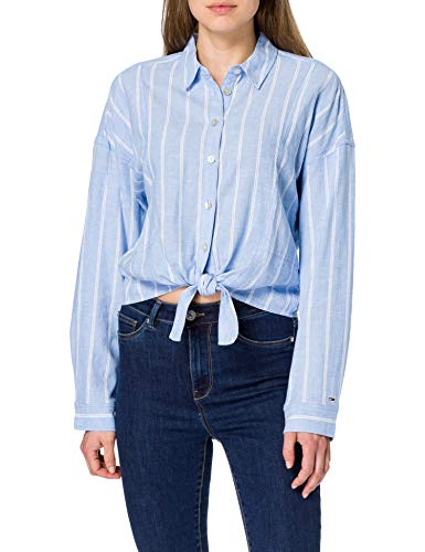 Tommy Jeans TJW Relaxed Front Knot Shirt Shirt, light blue/stripes, Women's M