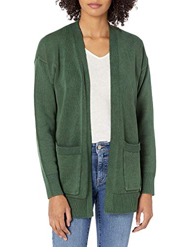 Goodthreads Mineral Wash Cardigan Open Cardigan Sweater, Moss Green, M
